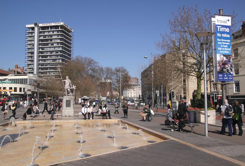 Broad Quay fountains Bristol city centre