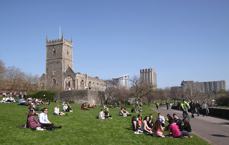 Castle Park and St Peters Church Bristol