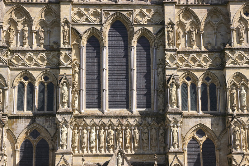 Closeup detail West Front Salisbury Cathedral Wiltshire