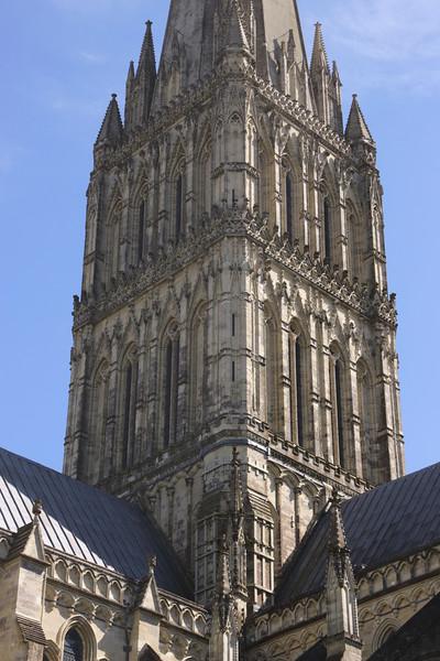 Closeup spire of Salisbury Cathedral Wiltshire