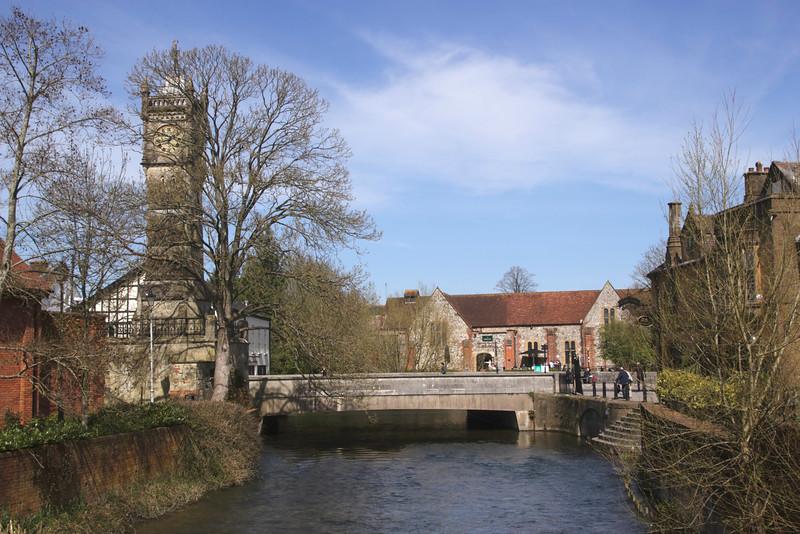 River Avon and Fisherton Bridge Salisbury Wiltshire England