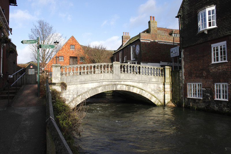 Bridge over the River Itchen Winchester January 2010