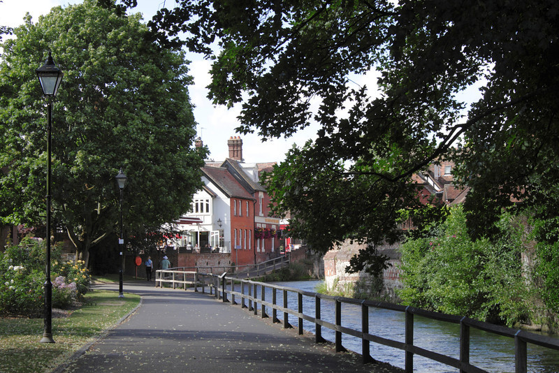 Footpath by River Itchen Winchester Hampshire