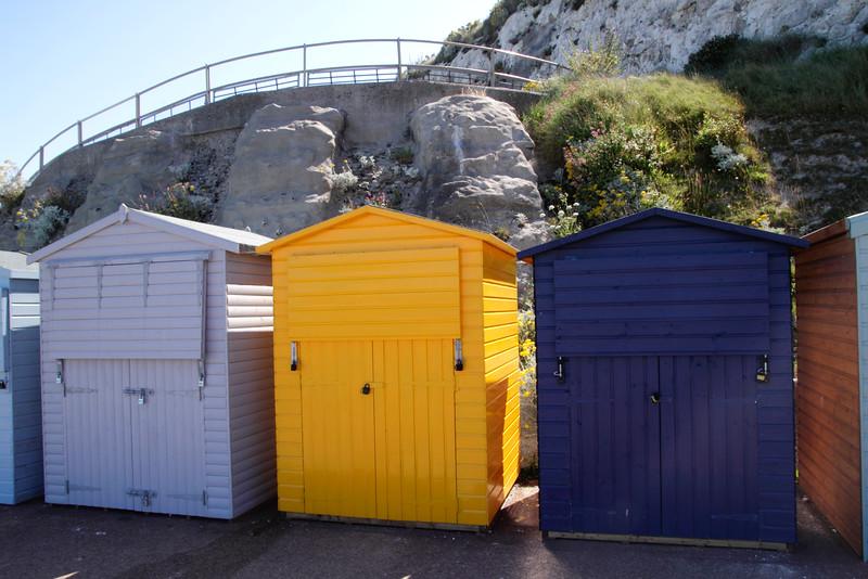 Closeup colourful Beach Huts at Stone Bay Broadstairs Kent England
