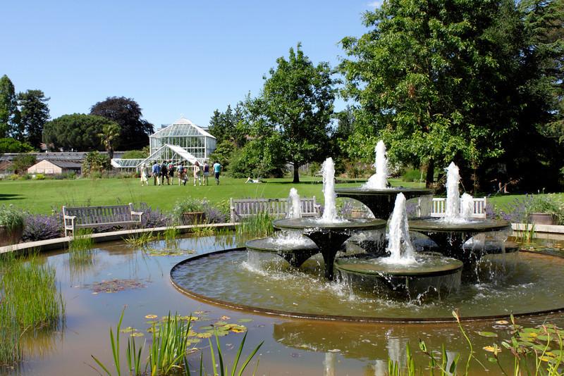 Fountain in Main Lawn of Cambridge University Botanic Garden