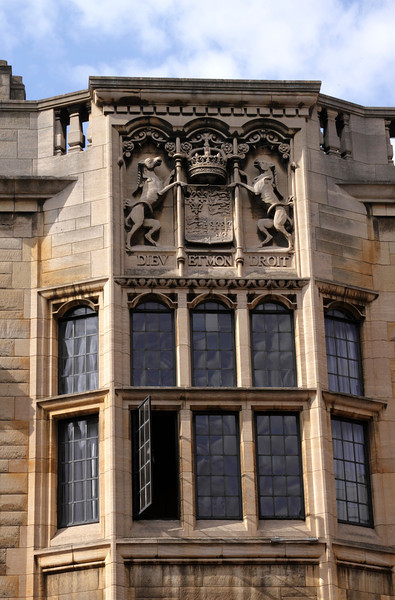 Closeup window of Kings College Cambridge view from Kings Lane