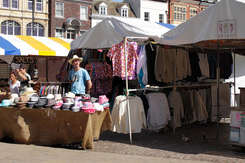 Hat and clothes stall at Market Square Cambridge June 2011