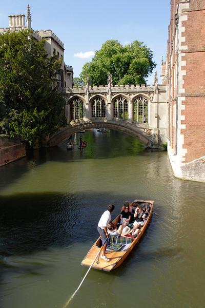Bridge of Sighs and Punt at St John's College Cambridge