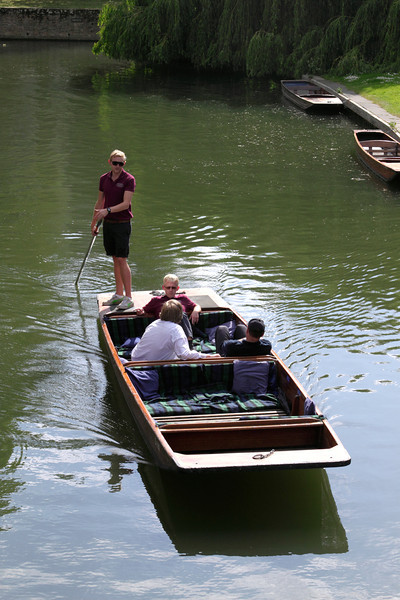 Punting on the River Cam Cambridge view from Magdalene Bridge