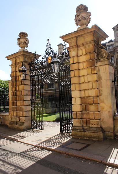 Gate to Clare College Cambridge off Trinity Lane