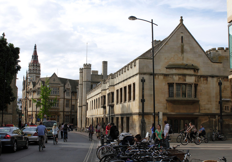 View along St Andrews Street Cambridge Christ's College on right