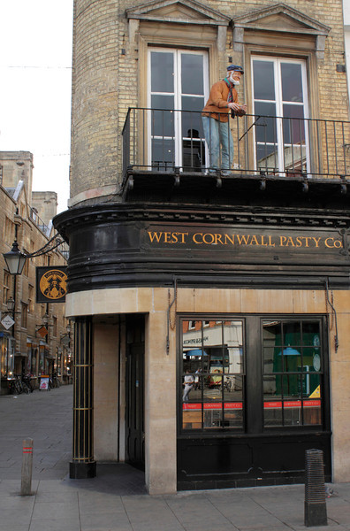 West Cornwall Pasty Co. shop and dummy fisherman Cambridge