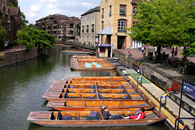 Punts on the River Cam Cambridge view from Magdalene Bridge
