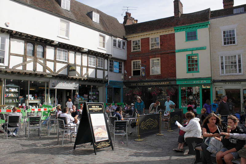 Outside tables of The Old Buttermarket Pub Canterbury