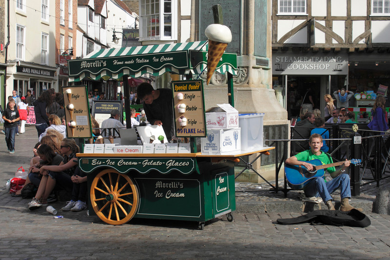 Ice Cream stall in Buttermarket Square Canterbury Kent