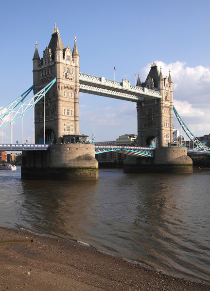 Tower Bridge London view from the north side of the Thames