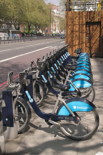 Bikes for hire at Marylebone Road London