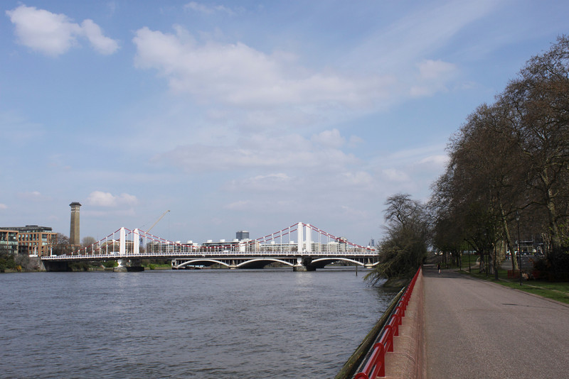 Battersea Park by the River Thames London Chelsea Bridge in background