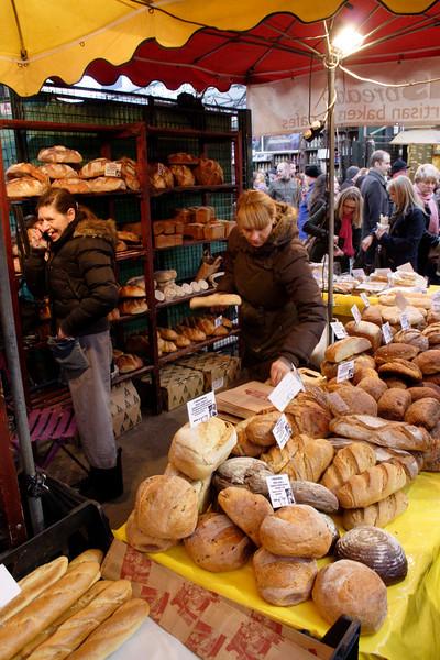 Bread stall Borough Market London January 2009