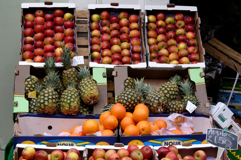 Vegetable stall Borough Market London February 2009