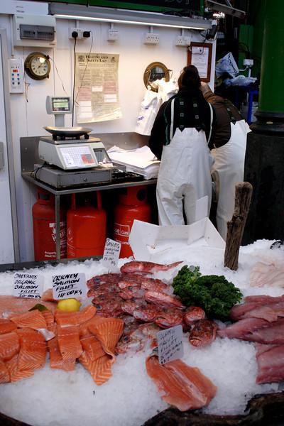 Fish stall at the Borough Market London February 2009