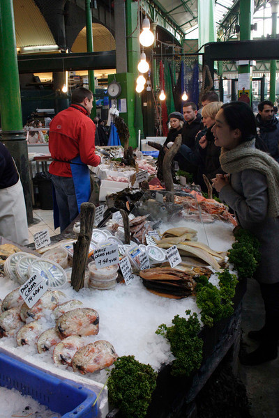 Seafood stall at the Borough Market London January 2009
