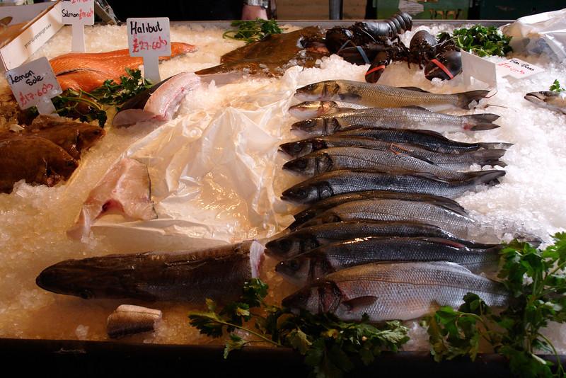 Sea Bass Fish for sale at the Borough Market London