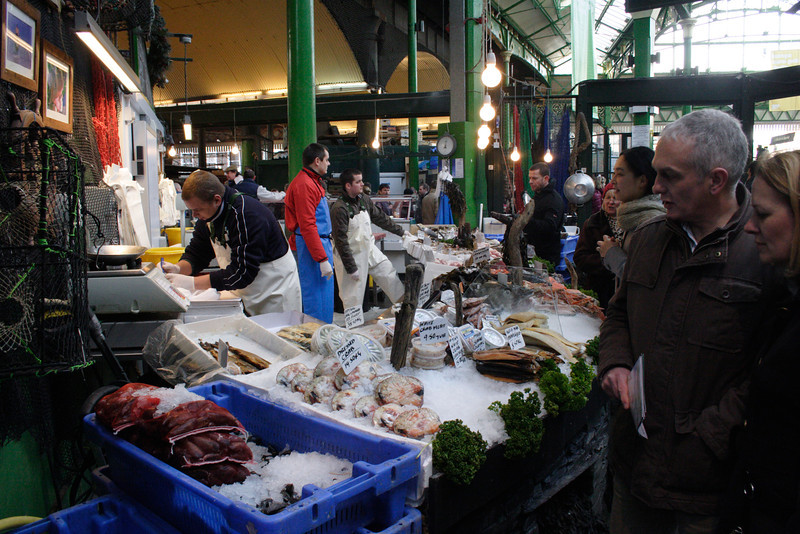 Seafood stall at the Borough Market London