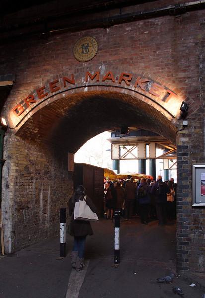 Entrance to the Green Market London January 2009