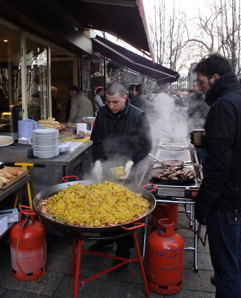 Barbeque stall in front of Cafe Brood near the Borough Market London