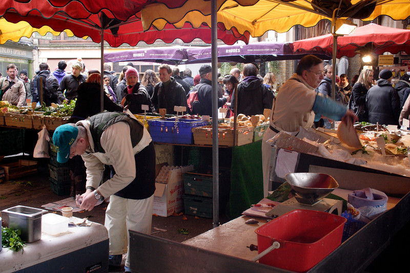 Fish and vegetable stall Borough Market London