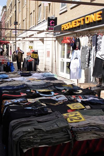 Clothes stall Brick Lane Market London