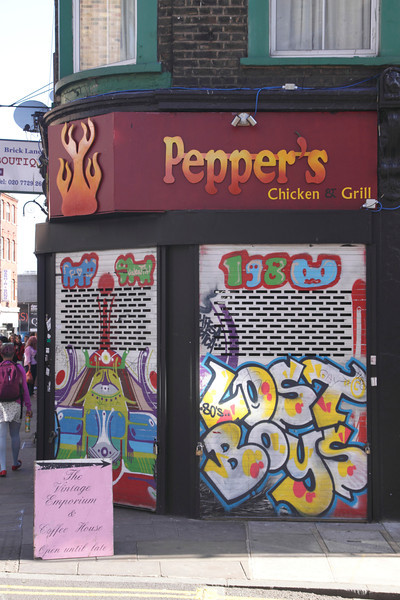 Graffiti on Fast Food Shop Brick Lane London June 2013