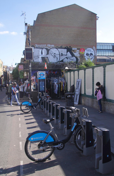 Borris Bikes for hire at Brick Lane London