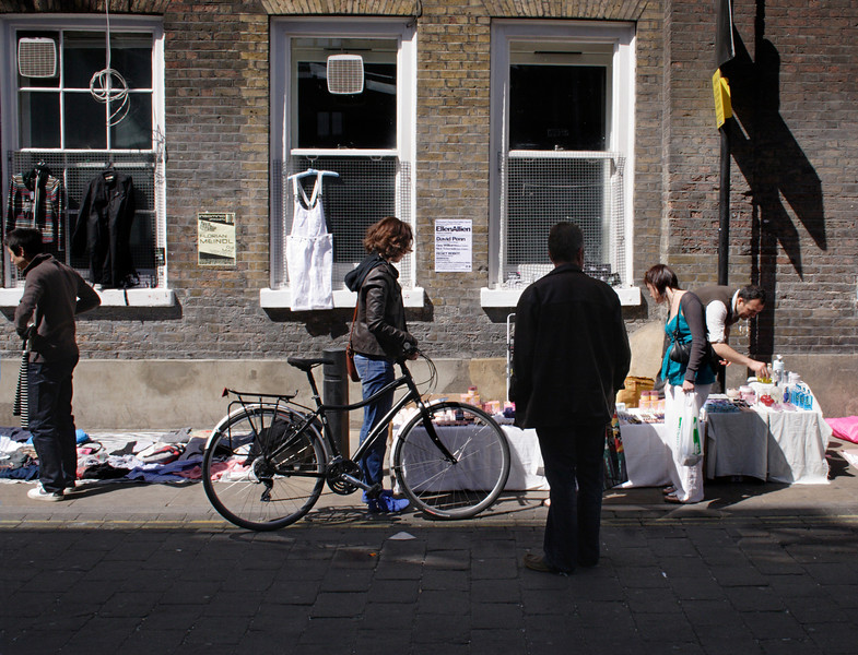 Traders selling their wares at Brick Lane Market London