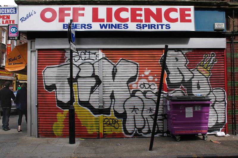 Graffiti on Off Licence Brick Lane London