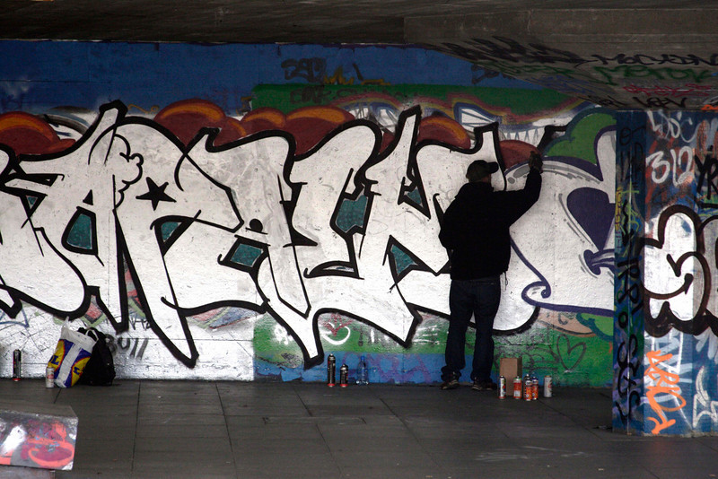 Graffiti artist at the South Bank London February 2007