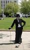 Charlie Chaplin human statue South Bank London May 2010