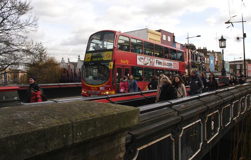 Double decker bus Camden High Street London February 2008