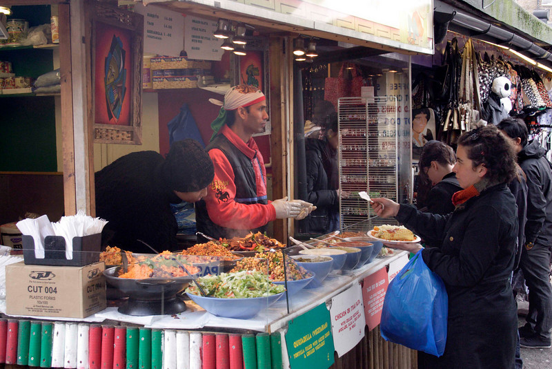 Fast food stall at Camden Canal Market London February 2008