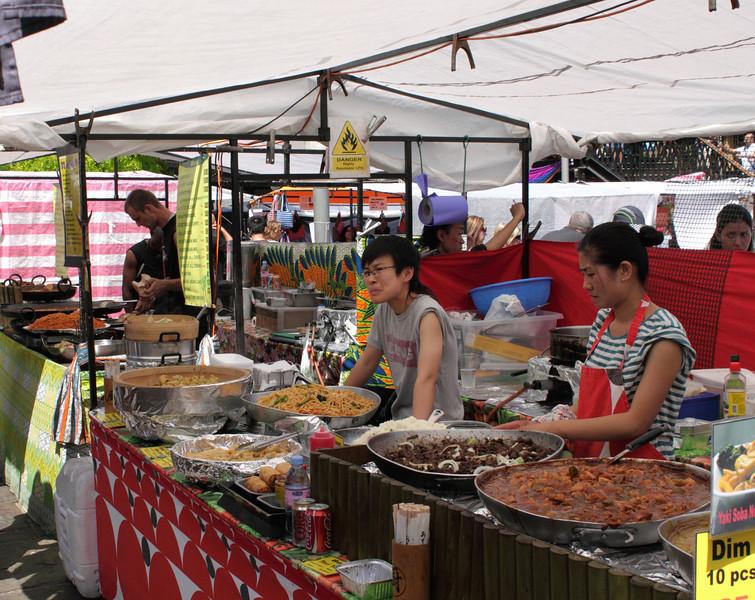 Oriental food stall at Camden Lock Market London July 2010