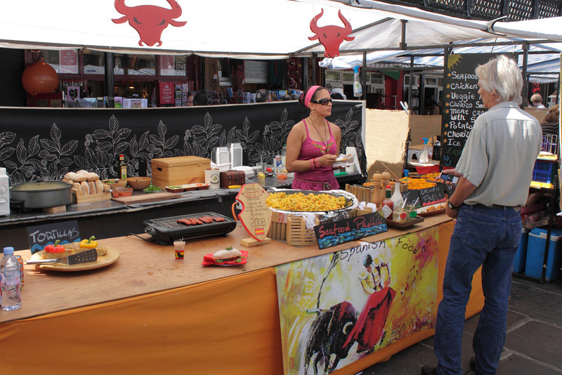 Spanish food stall at Camden Lock Market London July 2010