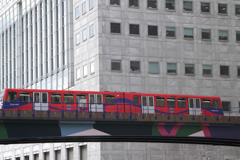 Docklands Light Railway Train at Canary Wharf London England