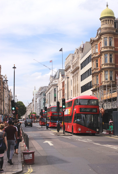 Double decker buses at Oxford Street London August 2018