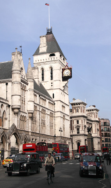 Fleet Street London Royal Courts of Justice on left