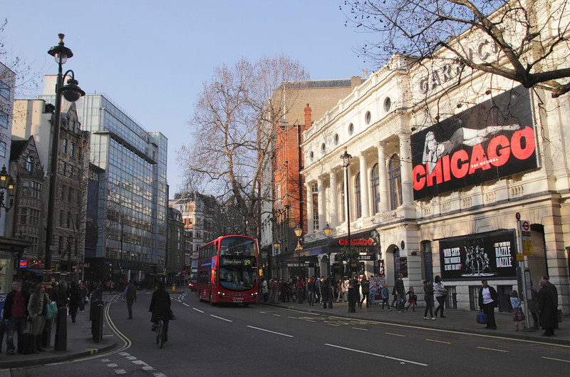Charing Cross Road London Garrick Theatre on right March 2012