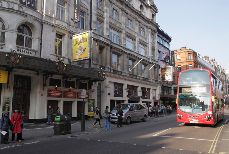 Shaftesbury Avenue London Gielgud Theatre on left March 2012
