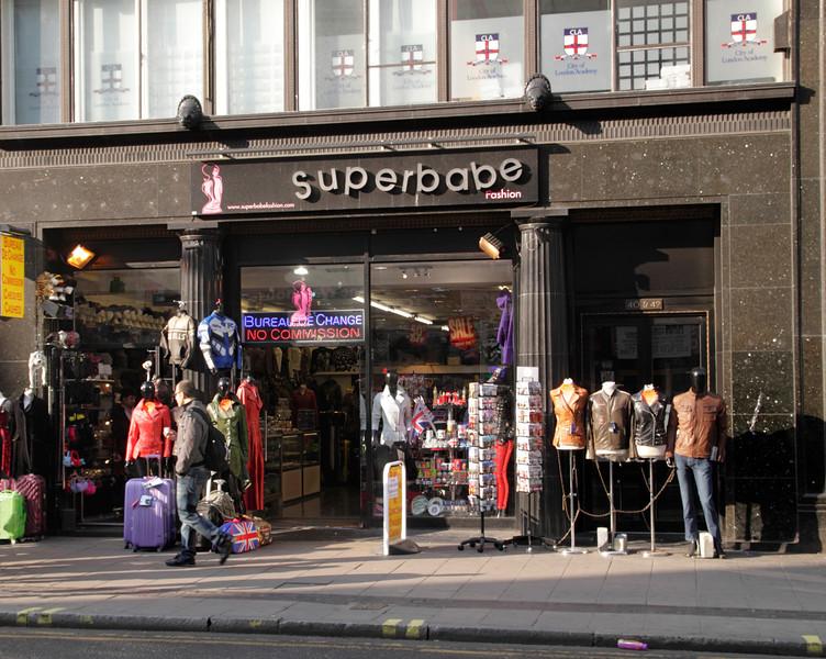 Superbabe fashion shop Oxford Street London March 2012
