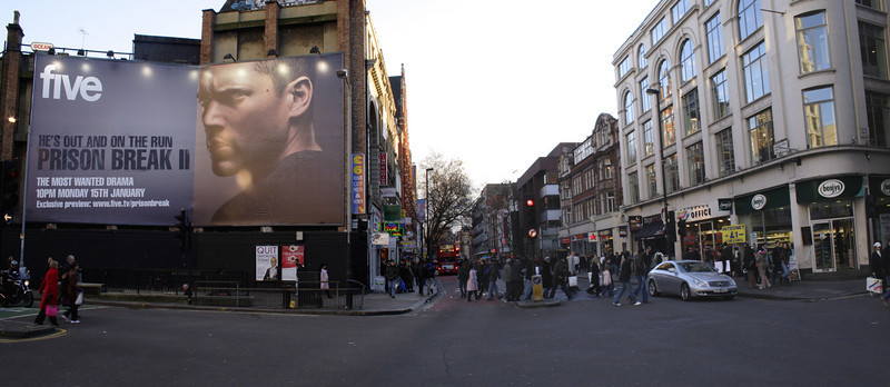 Charing Cross Road junction with Tottenham Court Road London Winter 2006