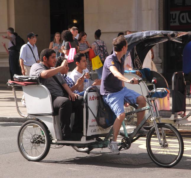 Pedicab rickshaw taxi Oxford Street London England